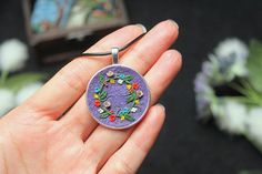 Floral wreath polymer clay necklace gift for women purple