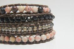Leather Wrap Bracelet Earthy Boho, Beaded Wrap Bracelet, Leather Bracelet.