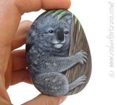 I Painted this Sweet Koala on a Natural Sea Rock. A Unique Piece of Art and a great Gift Idea for all of you! My painted stones are unique