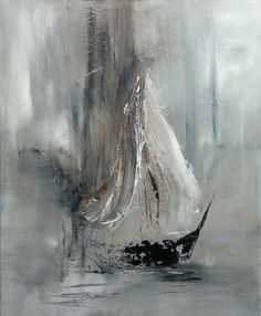 painting, representing in my opinion a sailboat in a little fog . Abstract painting, representing in my opinion a sailboat in a little fog . Abstract painting, representing in my opinion a sailboat in a little fog . Sailboat Art, Sailboat Painting, Art Abstrait Gris, Oil Painting Abstract, Painting Techniques, Canvas Art, Painted Canvas, Hand Painted, Artwork