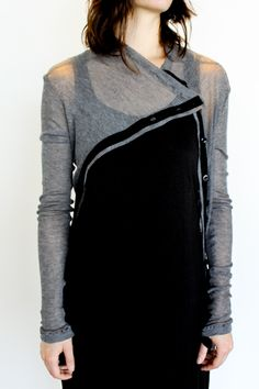 MANDULA, WOOL CASHMERE RIBBED ASYMMETRICAL CARDIGAN: black and grey and #asymmetric all over - dreamy. #mandula #knitwear mandula.com
