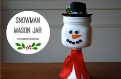 Mason Jar Christmas Crafts | Snowman Mason Jar Craft - so CUTE!!!!