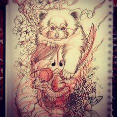 RED PANDA SKULL HANNYA.  by ~LewisBuckleyArt
