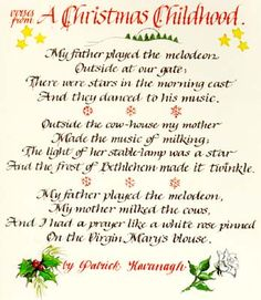 Calligraphy Christmas card 1995 ... verses from Patrick Kavanagh poem, hand-written by me!