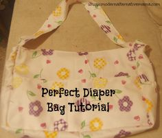 Diaper bag tutorial with inside and outside pockets, cup holder, and built-in wet bag.