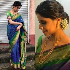 Sari - Jewelry - Styled by - Saree Wearing Styles, Saree Styles, Bridal Silk Saree, Saree Wedding, Maharashtrian Saree, Saree Hairstyles, Silk Saree Blouse Designs, Blouse Patterns, Nauvari Saree