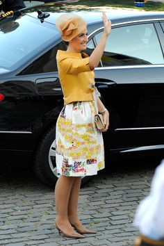 Princess Claire of Belgium in front of the Cathedral of St Michael and Saint Gudula prior to the Abdication Of King Albert II Of Belgium, & Inauguration Of King Philippe on 21 July 2013 in Brussels, Belgium.