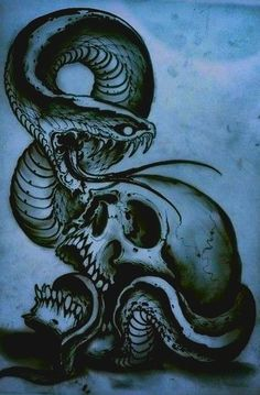 Blue skull art #snakes #skulls