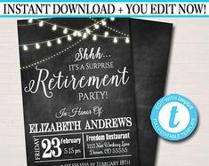 editable surprise retirement invitation chalkboard printable digital teacher nurse invite retirement party string lights