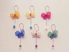 Butterfly earring, Tatting