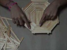 CANASTA DE MADERA!! Facil+Util+Práctica - YouTube Yarn Crafts For Kids, Straw Crafts, Jute Crafts, Diy Home Crafts, Metal Crafts, Pop Stick Craft, Ice Cream Stick Craft, Stick Art, Craft Stick Crafts