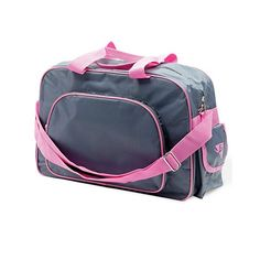 Dance bag with shoulder strap  Fabric : Polyester  Size : 40 x 26 x 16 cm  Colour : Grey/Pink  Fabric : Polyester  www.dancinginthestreet.com Dance Bags, Ballet Bag, Pink Fabric, Dance Wear, Gym Bag, Shoulder Strap, Colour, Grey, Accessories