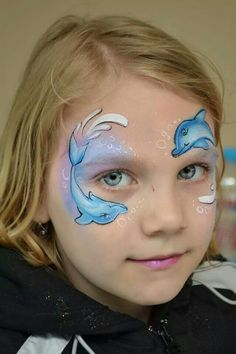 pretty face paint idea for girls dolphins
