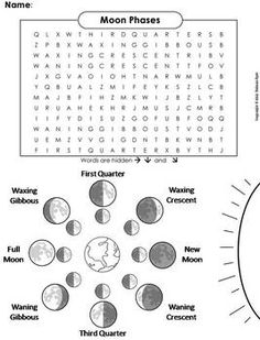 Moon Phases Worksheet Printable | Use PDFs below for Printing Out ...