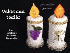 VELAS HECHAS CON TOALLAS FACIALES PARA RECUERDOS DE  BAUTIZO O PRIMERA C...