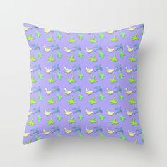 Blue and Green Mix Bird Pattern Throw Pillow