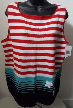 Villager Sport NWT Woman's Red/White/Lt/Dk Blue Striped/Stars Sweater Size XL #Villager #SleevelessSweater