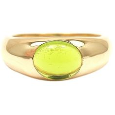 Pre-owned Tiffany & Co. 18K Yellow Gold Peridot Cabochon Ring