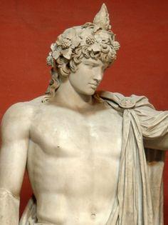 Colossal statue of Antinous as Dionysos-Osiris (ivy crown, head band, cistus… Ancient Rome, Ancient Art, Ancient History, Statues, Greek Mythology Art, Roman Sculpture, Ancient Beauty, Roman Art, Classical Art
