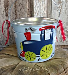 Easter Bucket Personalized HandPainted Tin Pail by ladeedahart, $25.00
