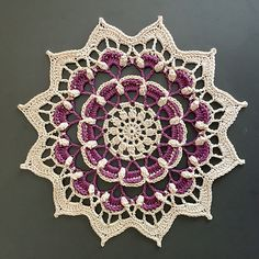 Ravelry: Frozen Lotus pattern by Johanna Lindahl Free Crochet Doily Patterns, Crochet Squares, Crochet Motif, Crochet Doilies, Knitting Patterns, Knit Crochet, Mandala Crochet, Thread Crochet, Crochet Stitches