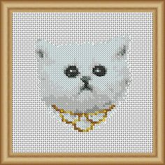Glam Kitten - designed by Lucie Heaton, Cross Stitch Patterns - Instant Download
