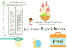 Belle's Book Corner monthly themed book list and FREE bookmark for July searches for bugs and insects.