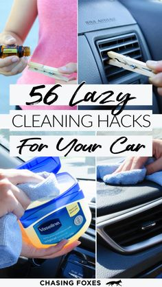 56 Car Cleaning Hacks - Chasing Foxes - 56 Car Cleaning Hacks I like clean car seats and I like clean car hacks in general. That's why I'm sharing these 56 car cleaning hacks to help you clean your car easily. Diy Car Cleaning, Diy Cleaning Products, Deep Cleaning, Spring Cleaning, Car Products, Cleaning Recipes, Organisation Hacks, Organizing Tips, Household Organization