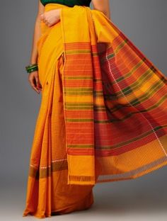 Yellow-Red Stripe Cotton Saree