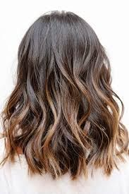 dark brown short hair balayage