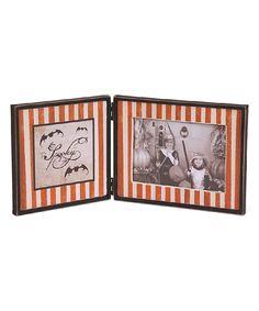 Orange & White Stripe 'Boo' Folding Photo Frame