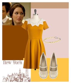 """""""Mustard Yellow Dress"""" by poloandpearls ❤ liked on Polyvore"""