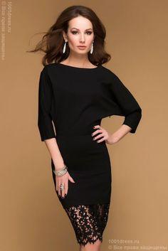 Черное коктейльное платье с рукавом летучая мышь и кружевной отделкой