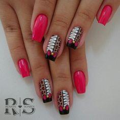 40 English nail patterns and pictures Acrylic Nail Art, Gel Nail Art, Bling Nails, My Nails, Zebra Nails, Purple And Pink Nails, Magic Nails, Nail Time, Nail Patterns