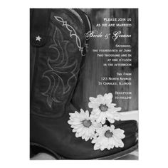 Rustic Cowboy Boots and Daisies Country Wedding Card