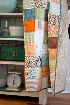 Love simple patchwork square quilts