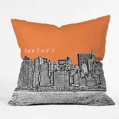 Bird Ave New York Orange Outdoor Throw Pillow   DENY Designs Home Accessories