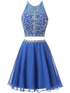 9108050f041 A-line Halter Tulle Chiffon Beading Short Mini Two Piece Backless Junior  Prom Dresses