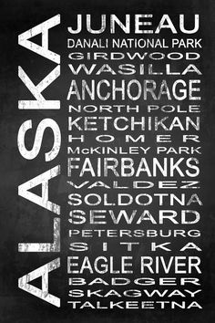 Subway Alaska State 1 by Melissa Smith | Urban Art District.  Modern subway sign chalkboard typography features destinations in Alaska state such as: Juneau, Danali National Park, Girdwood, Wasilla, Anchorage, North Pole, Ketchikan, Homer, McKinley Park, Fairbanks, Valdez, Soldotna, Seward, Petersburg, Sitka, Eagle River, Badger, Skagway, Talkeetna  Embrace your love for Alaska and add some urban sophistication to compliment your modern style with a stylish subway sign. It beautifully…