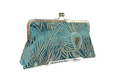 Teal Peacock feathers clutch purse/ Wedding by jemdesign567