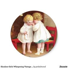 Shoeless Girls Whispering Vintage Christmas
