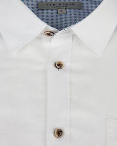 Roll sleeve linen mix shirt - White | Shirts | Ted Baker