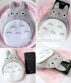 Respetuoso del medio ambiente hechos a mano Totoro mi vecino grande lindo de fieltro gris caja del teléfono con cierre made in China