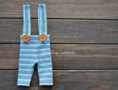 Newborn Photography Suspenders  Upcycled jean blue and white striped overalls by ToodleBugCreations, $23.00