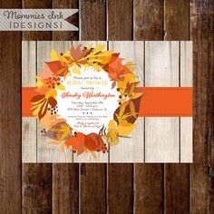 Fall Wreath with Cottage Wood Background Bridal Shower Invite by MommiesInk, $14.00