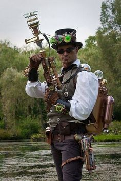 steampunk.  Glass bobbles. Holster with thigh straps. Pirate shirt