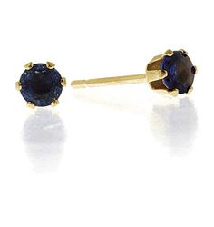 Sapphire 3mm 9K Yellow Gold Earrings. #thediamondstoreuk #earrings #jewellery