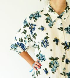 Oversized Button Up Shirt with Blue Roses