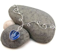 Elven Grace Necklace - Silver and Blue - Wire Wrapped, Elegant Filigree - Spring Jewelry By: FantasiaElegance