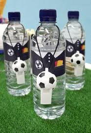 Throwing a football party? Kick off your celebrations with our football party food ideas - perfect for kids' parties and Euro 2016 celebrations! Birthday Party Snacks, Soccer Birthday Parties, Football Birthday, Football Party Foods, Football Themed Parties, Birthday Ideas, Soccer Theme, Sports Party, Water Bottles